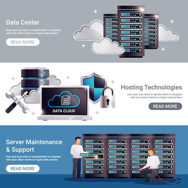 Ensemble de bannières horizontales du centre de données Vecteur gratuit