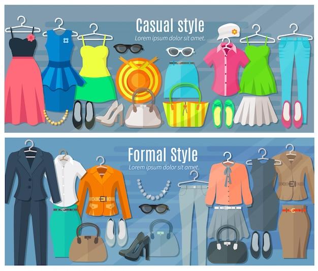 Ensemble de bannières horizontales femme vêtements de la mode dans les styles de mode formelle et décontractée Vecteur gratuit