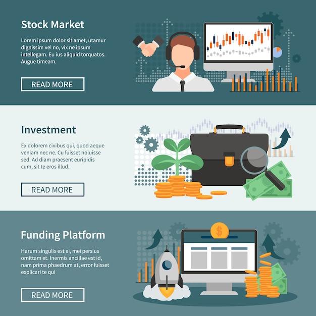 Ensemble de bannières horizontales d'investissement et de négociation Vecteur gratuit