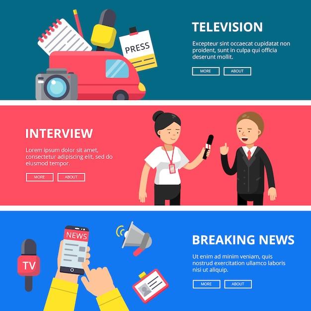 Ensemble de bannières horizontales de journalisme et de radiodiffusion Vecteur Premium