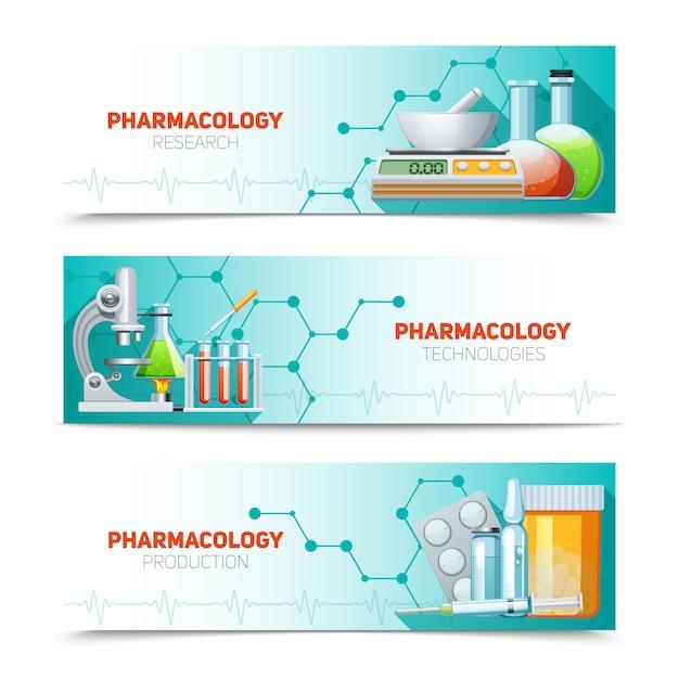 Ensemble de bannières horizontales de pharmacologie Vecteur gratuit
