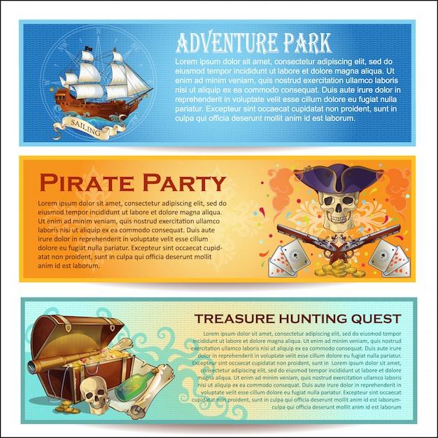 Ensemble De Bannières Horizontales Pirates Vecteur Premium