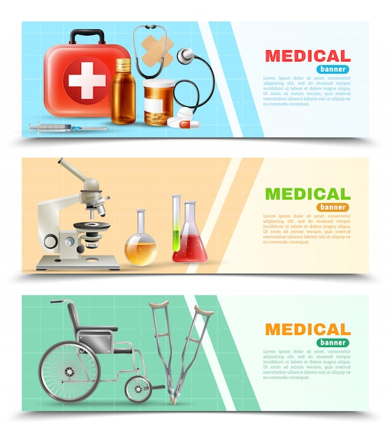 Ensemble de bannières horizontales plat médical de soins de santé Vecteur gratuit