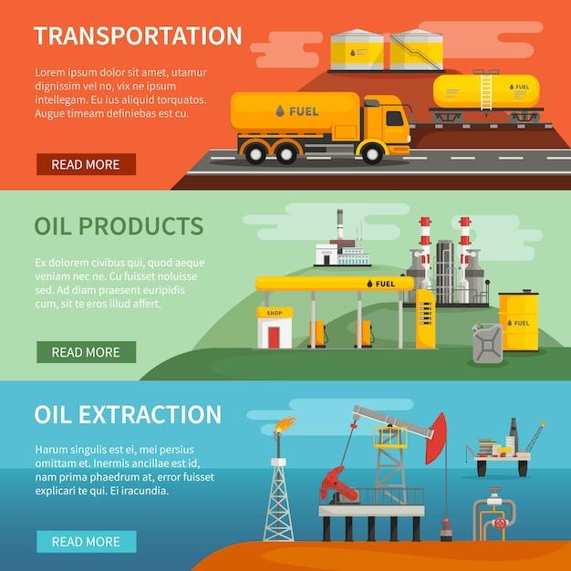 Ensemble De Bannières Horizontales Plat De Transport D'extraction De Segments De Pétrole Et D'huile Vecteur gratuit