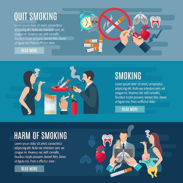 Ensemble de bannières horizontales pour fumer Vecteur gratuit