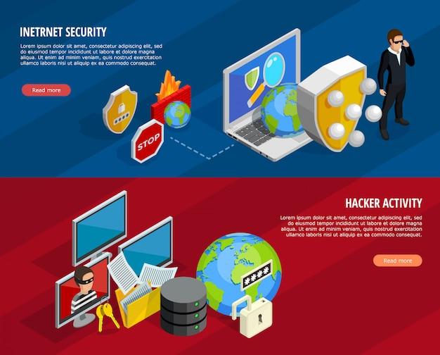 Ensemble de bannières horizontales pour la protection des données Vecteur gratuit