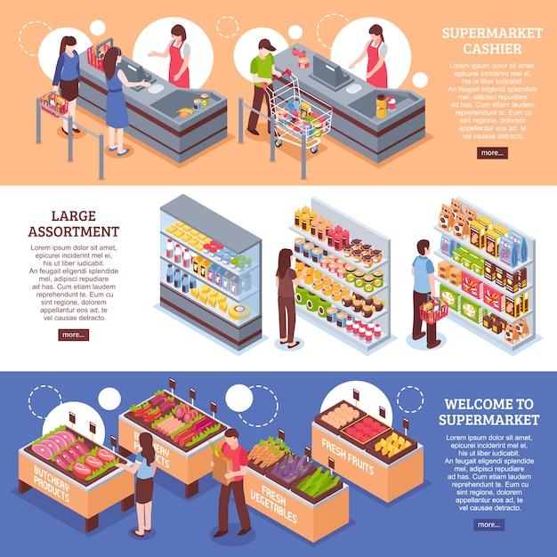 Ensemble de bannières horizontales de supermarché Vecteur gratuit