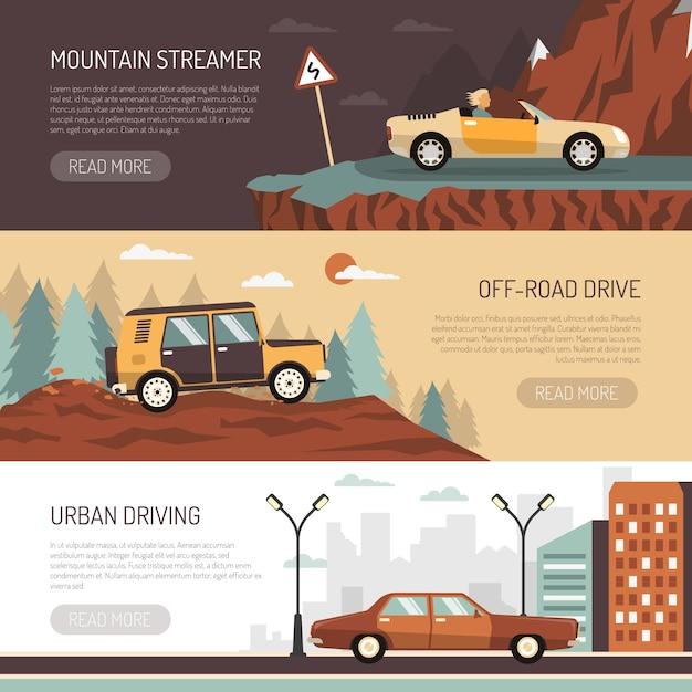 Ensemble de bannières horizontales avec des voitures de tourisme Vecteur gratuit
