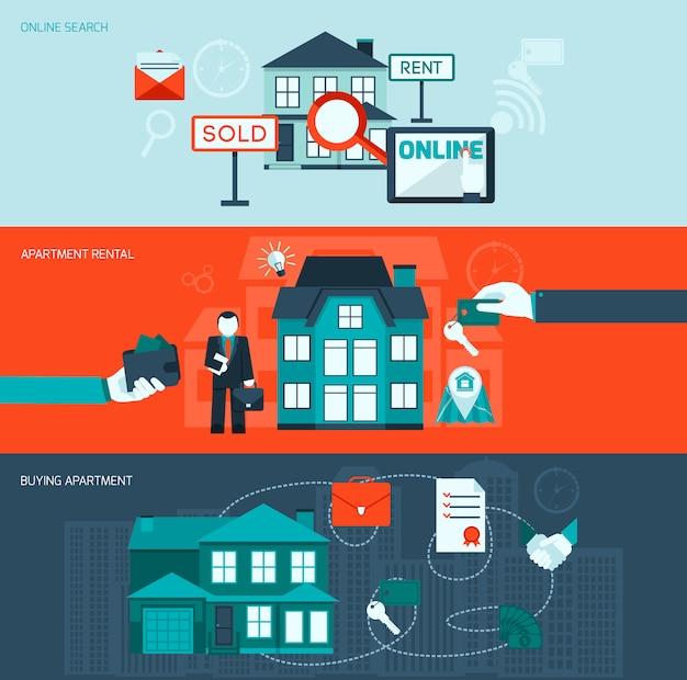 Ensemble de bannières immobilier Vecteur gratuit