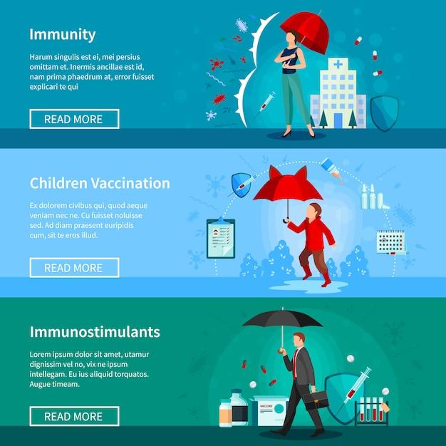 Ensemble de bannières d'immunité et de vaccination Vecteur gratuit