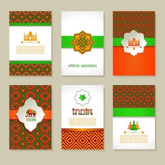 Ensemble de bannières indiennes ethniques dans la conception nationale de couleurs de mise en page Vecteur gratuit