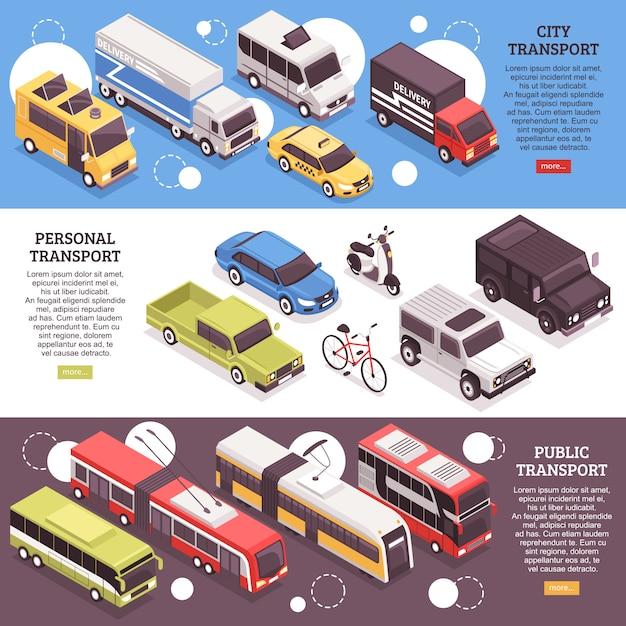 Ensemble De Bannières Isométriques Horizontales Transporteurs Urbains, Véhicules Personnels Et Transports Publics Vecteur gratuit