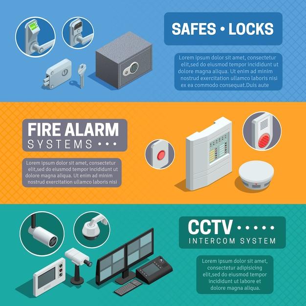 Ensemble de bannières isométriques pour système de sécurité domestique Vecteur gratuit
