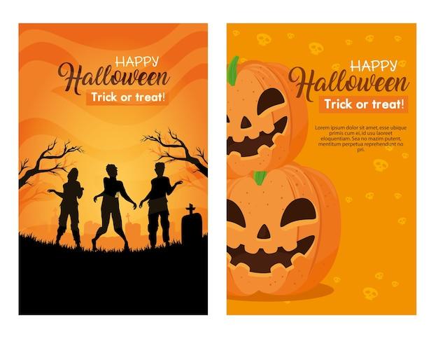 Ensemble De Bannières Joyeux Halloween Avec Décoration Vecteur Premium