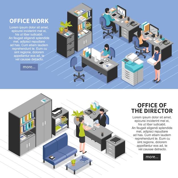 Ensemble de bannières des lieux de travail de bureau Vecteur gratuit