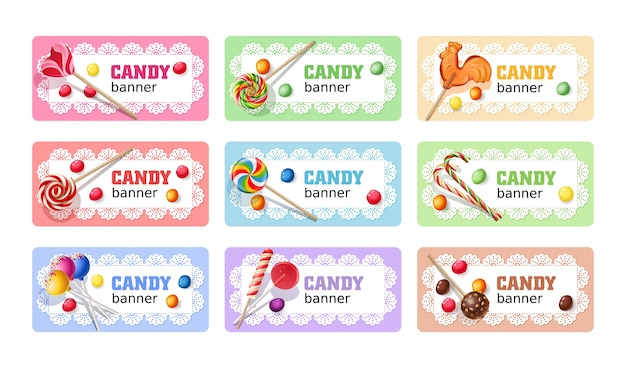 Ensemble de bannières de lollipop sucrées. Vecteur gratuit