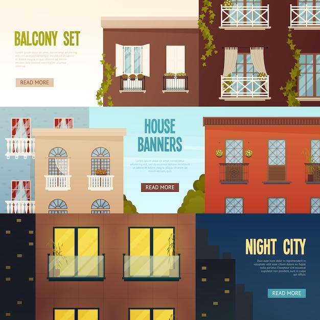 Ensemble de bannières maison balcon Vecteur gratuit
