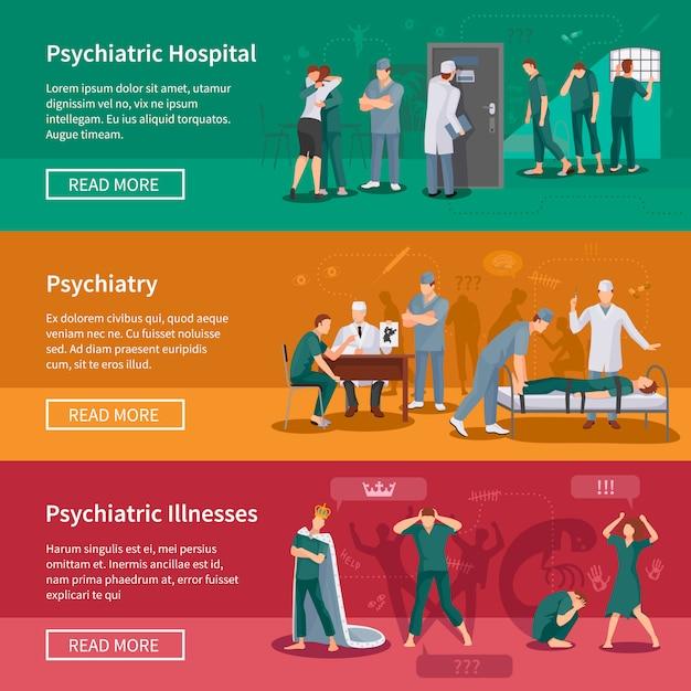 Ensemble de bannières de maladies psychiatriques Vecteur gratuit