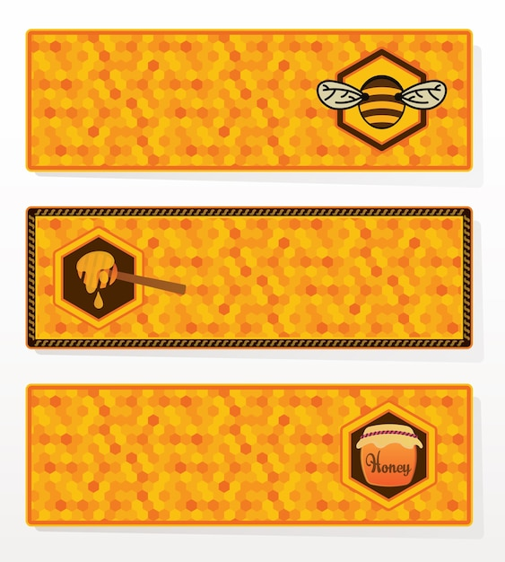 Ensemble de bannières de miel. Vecteur Premium