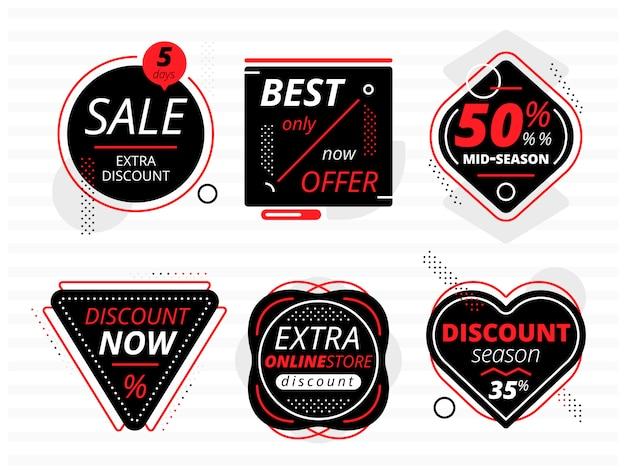 Ensemble de bannières noires avec offres de vente Vecteur Premium