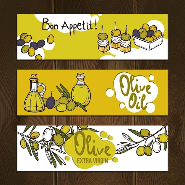 Ensemble de bannières d'olives Vecteur gratuit
