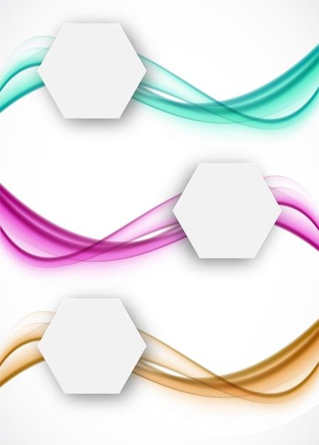 Ensemble De Bannières Ondulées Avec Hexagones En Papier Vecteur Premium