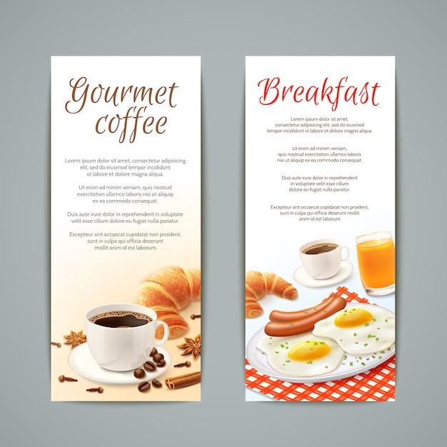 Ensemble de bannières de petit déjeuner Vecteur gratuit