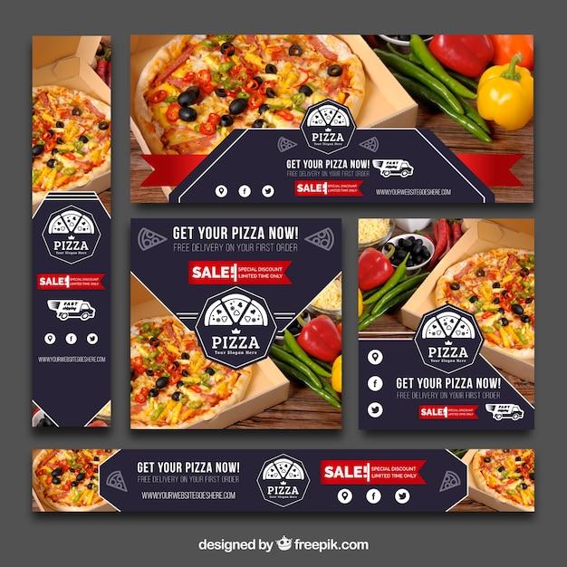 Ensemble De Bannières De Pizza Vintage Vecteur gratuit