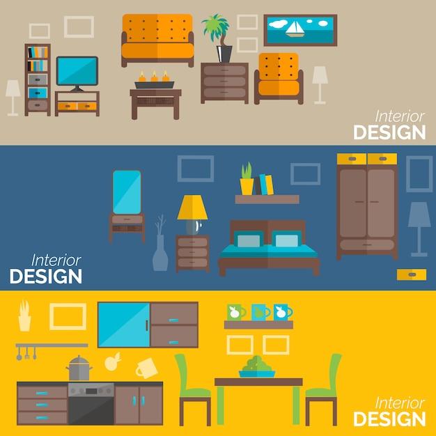 Ensemble de bannières plat design mobilier de maison Vecteur gratuit