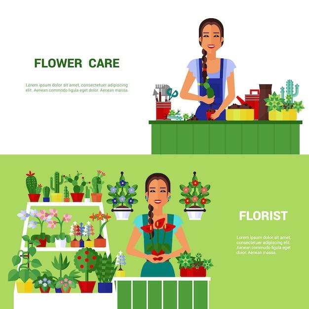 Ensemble de bannières plat de plantes de maison de fleuriste Vecteur gratuit
