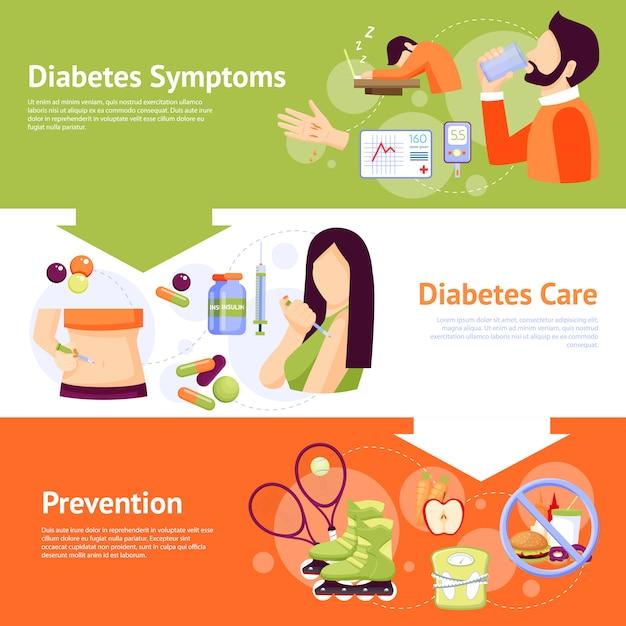 Ensemble de bannières plates pour les symptômes du diabète Vecteur gratuit