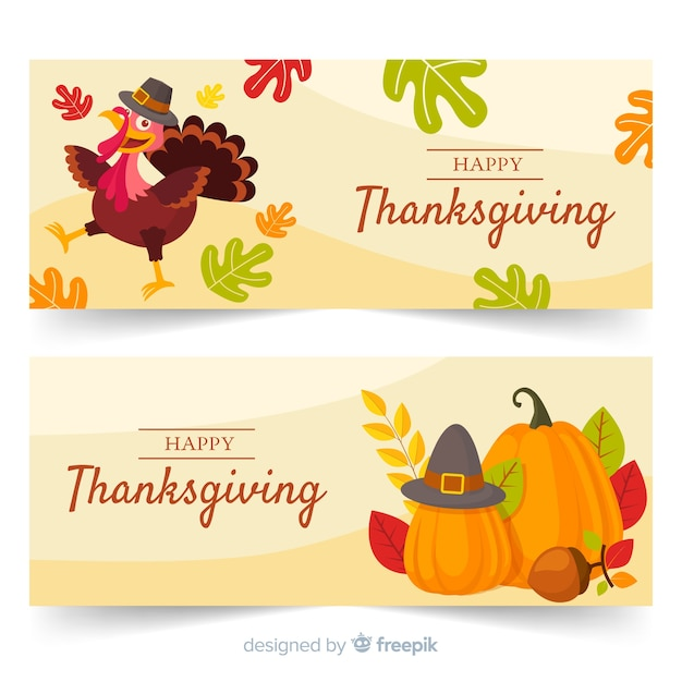 Ensemble de bannières pour le thanksgiving design plat Vecteur gratuit