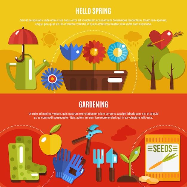 Ensemble de bannières de printemps Vecteur gratuit