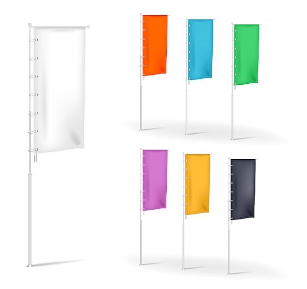 Ensemble De Bannières Publicitaires De Drapeaux Vierges Avec Plis Multicolores, Modèles D'illustration Vecteur Premium