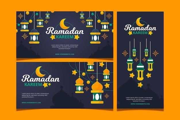 Ensemble De Bannières Ramadan Dessinés à La Main Vecteur gratuit