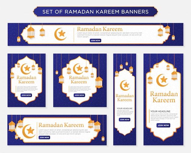 Ensemble de bannières de ramadan kareem Vecteur Premium