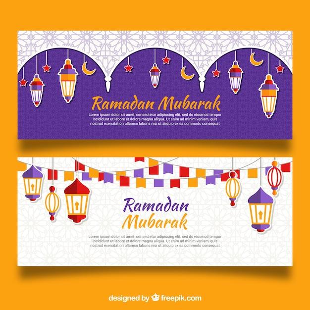 Ensemble de bannières de ramadan avec des lampes colorées Vecteur gratuit