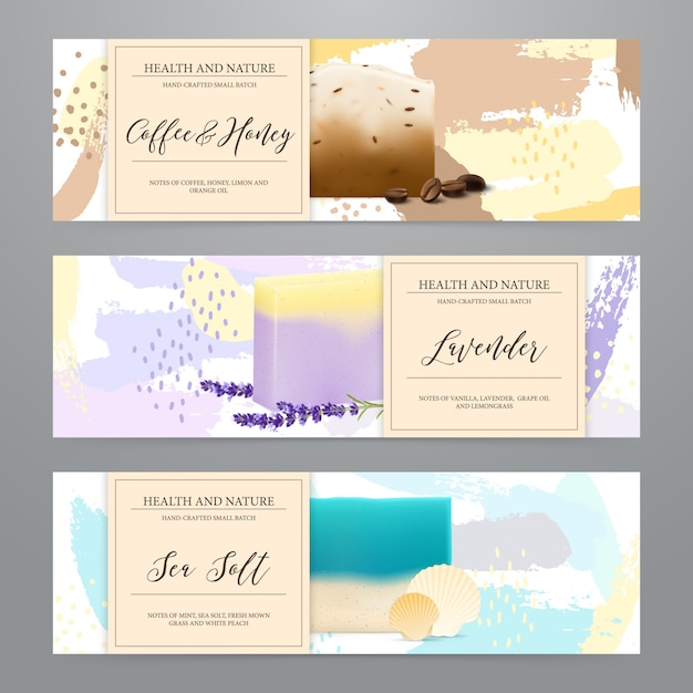 Ensemble de bannières réalistes d'emballage de savon Vecteur gratuit