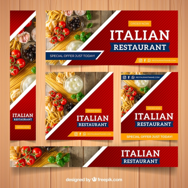 Ensemble de bannières de restaurant avec photo Vecteur gratuit