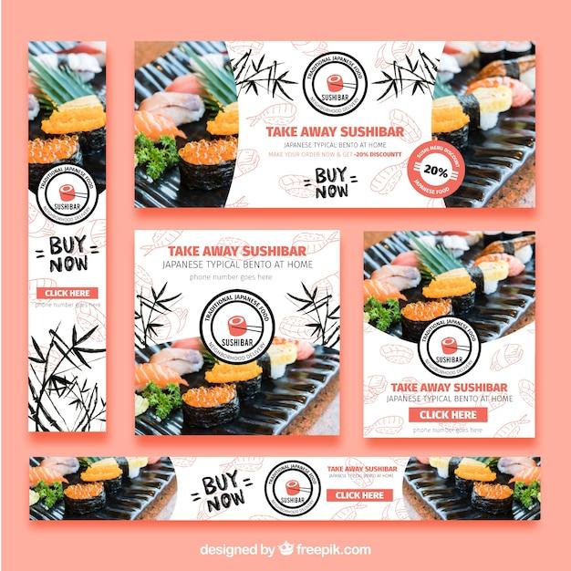 Ensemble de bannières de restaurant de sushi Vecteur gratuit