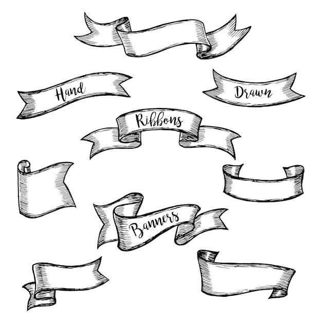 Dessin Ruban ensemble de bannières de ruban vintage vieux et dessin. élément de