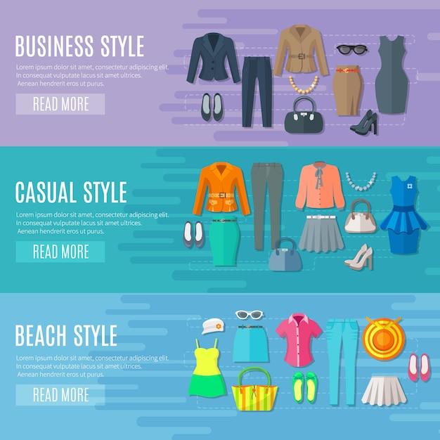 Ensemble de bannières de styles de mode ensemble de vêtements de plage et femme décontractée Vecteur gratuit