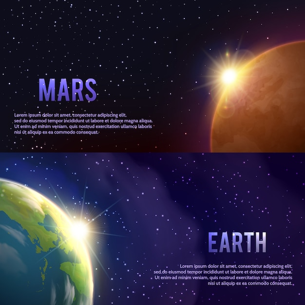 Ensemble de bannières de système solaire Vecteur gratuit