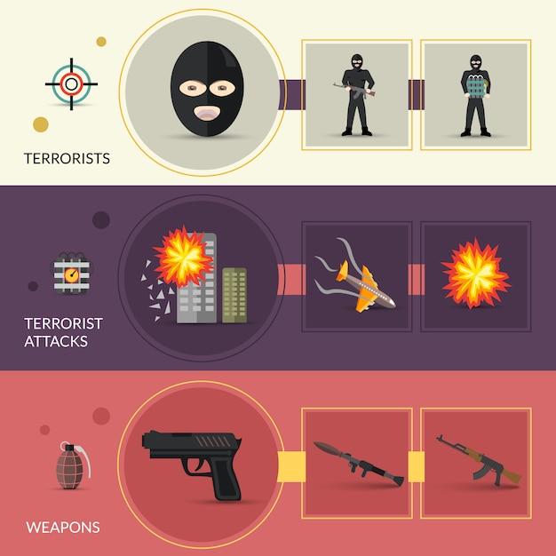 Ensemble de bannières de terrorisme Vecteur gratuit