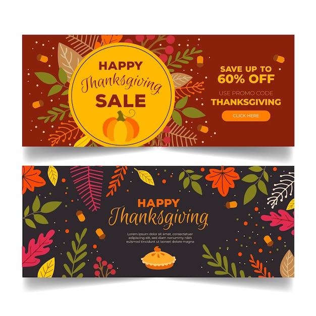 Ensemble De Bannières De Thanksgiving Dessinés à La Main Vecteur gratuit
