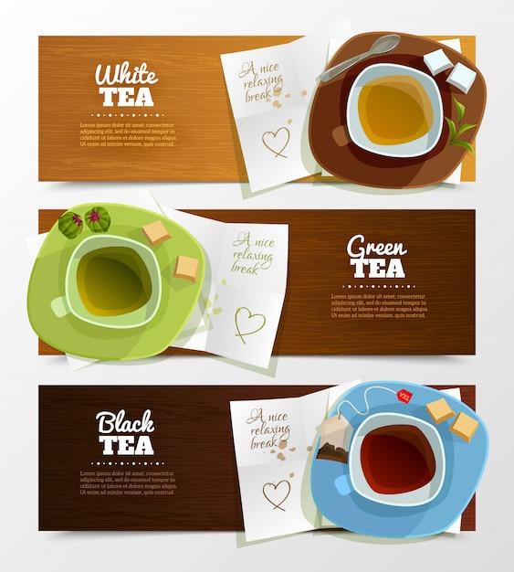 Ensemble de bannières de thé Vecteur gratuit