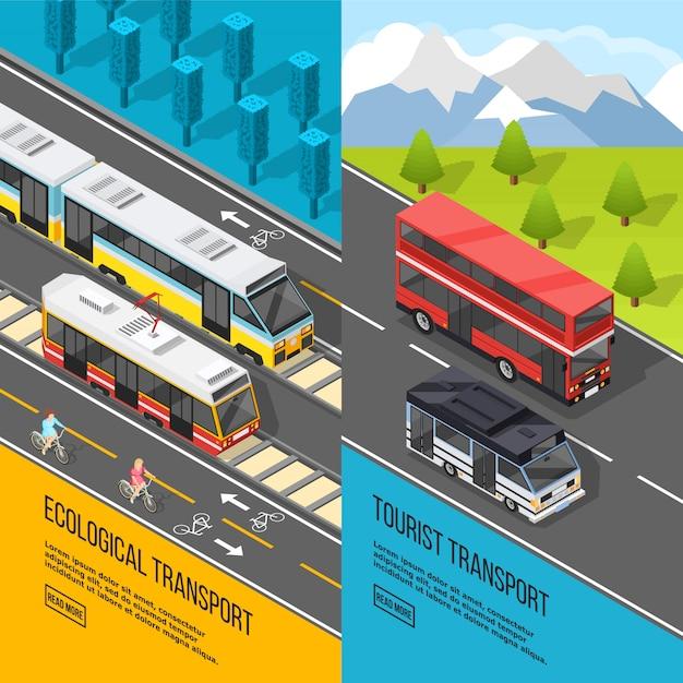 Ensemble de bannières de transport écologique Vecteur gratuit