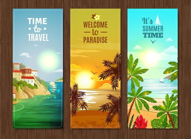 Ensemble de bannières de vacances mer agence de voyage Vecteur gratuit