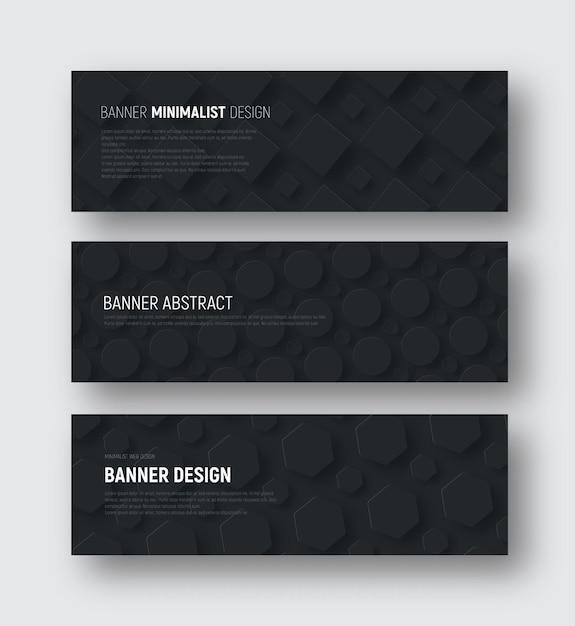 Ensemble De Bannières Vectorielles Horizontales Noires Avec Losanges, Hexagones Et Un Cercle Planant Sur L'arrière-plan. Vecteur Premium