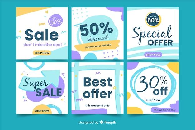 Ensemble de bannières de vente carrées pour la promotion sur instagram ou les médias sociaux Vecteur gratuit